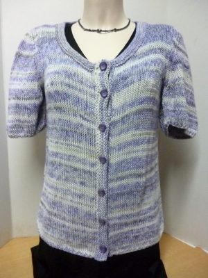 gilet manches courtes en coton chiné et rayé blanc, gris et violet