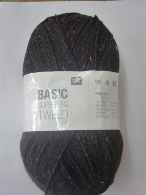 BASIC SUPER BIG TWEED de RICO DESIGN coloris anthracite chiné pelote de 400 g