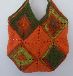 sac en granny coloris multicolore et orange