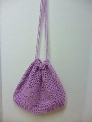 sac filet à provisions au crochet en 100% acrylique mauve