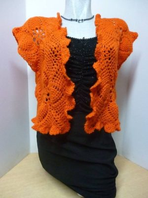 gilet boléro en granny coloris orange