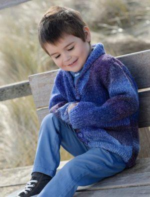 KIT Gilet Col Châle prêt à être tricoté Taille 4 à 10 Ans