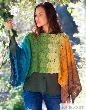 Poncho au tricot en Paint de Katia
