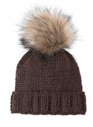 Kit bonnet pompon fourrure marron de Bergère de France