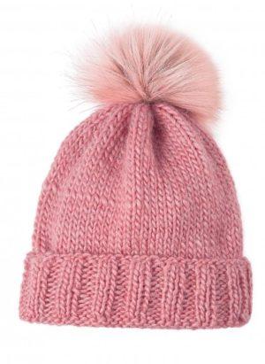 Kit bonnet pompon fourrure rose de Bergère de France