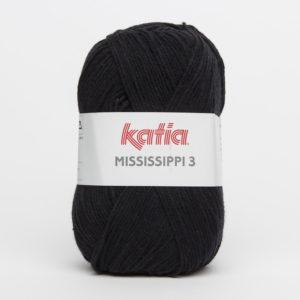 MISSISSIPPI 3 N°328 de KATIA pelote de 50 g coloris Noir
