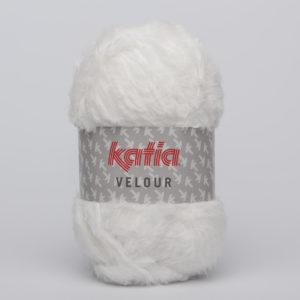 VELOUR N°50 de KATIA pelote de 50 g coloris Blanc