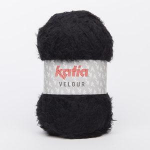 VELOUR N°58 de KATIA pelote de 50 g coloris Noir