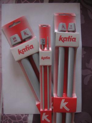 Aiguilles à tricoter droites 40 cm en plastique Katia