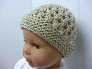 bonnet ajouré en Gémini coloris beige pour bébé