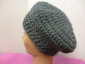 béret au crochet My Boshi Glitz coloris gris et argent