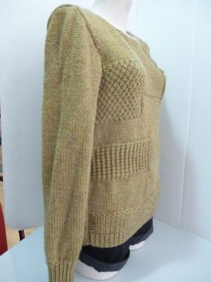 pull point fantaisie en Fileco coloris ocre