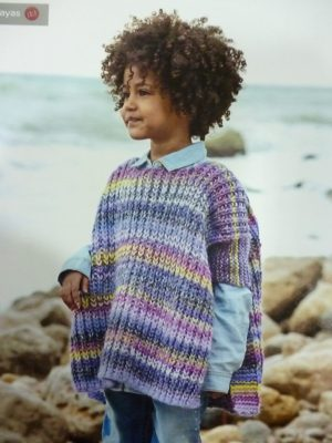 KIT Complet Poncho Enfant 4 à 6 Ans Prêt à être tricoté