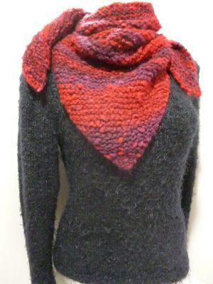chèche ou châle en Aquarelle de Plassard coloris rouge et violet