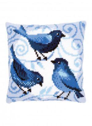 Coussin oiseaux bleus Bergère de France