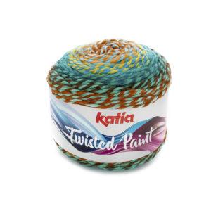 Twisted Paint N°153 de KATIA pelote 150 g ColorisRouille-Bleu d'eau