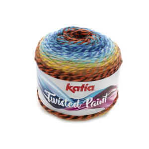 Twisted Paint N°156 de KATIA pelote 150 g Coloris Bleu-Rouge-Jaune