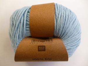 Essentials Organic Cotton Aran N°012 Bleu 100% Coton Bio de RICO DESIGN