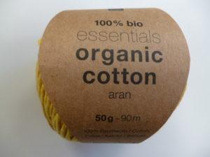 Essentials Organic Cotton Aran N°003 Jaune 100% Coton Bio de RICO DESIGN